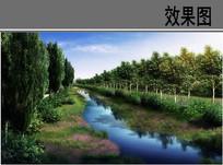 教育园区护校河道湿地效果图