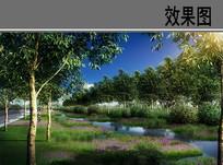 教育园区护校河湿地水泡效果图