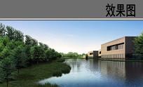 教育园区文化中心水系效果图