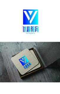 蓝色简约教育logo