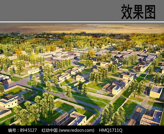民族风村庄住宅区方案鸟瞰图图片