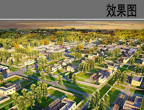 民族风村庄住宅区方案鸟瞰图