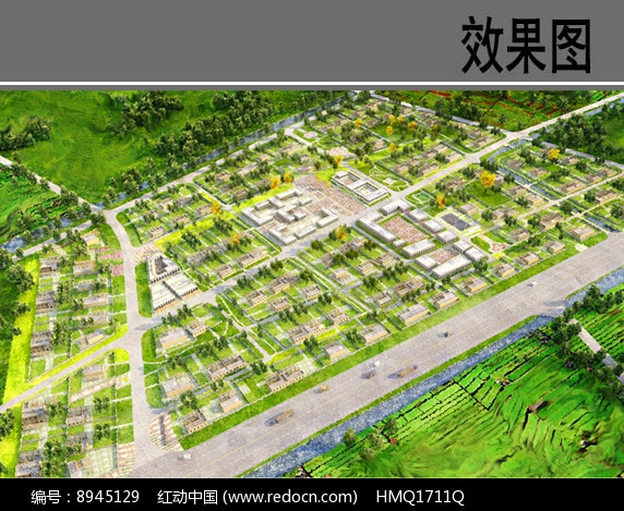 民族特色住宅区方案鸟瞰图图片