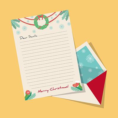 手绘圣诞信纸和信封设计AI素材下载 编号8969521 红动网