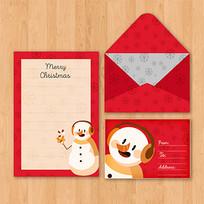 手绘雪人信纸设计