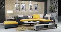 现代简约沙发茶几电视柜模型