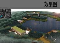 乡村生态湿地公园鸟瞰图