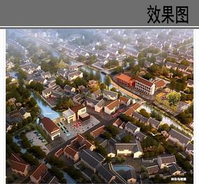 乡村砖街鸟瞰图