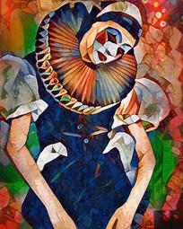 小丑少女油画装饰画