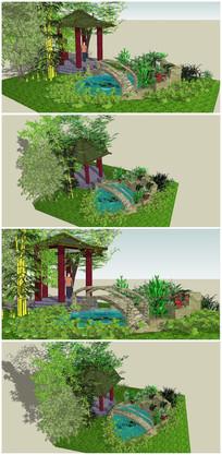 小游园景观小品SU模型