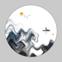 新中式山水水墨装饰背景装饰画