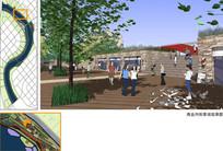 运河汉沽段商业内街景观效果图