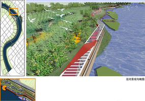 运河汉沽段沿河景观鸟瞰图