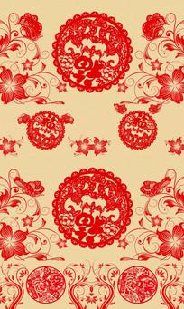中国风旋转红色剪纸春节祝福