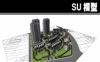 中式风格居住区精细景观模型