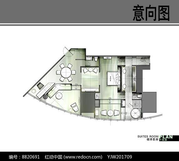中心J酒店标准套房平面图