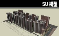 砖红色小区模型带精细景观住宅