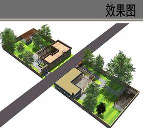 住宅室外环境布局设计鸟瞰图