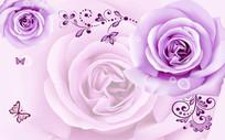 紫色玫瑰蝴蝶电视背景墙