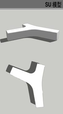 Y形坐凳su模型