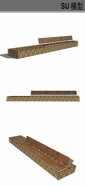 长方形休闲坐凳su模型