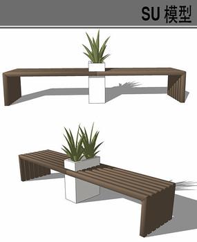 带花盆木质坐凳su模型