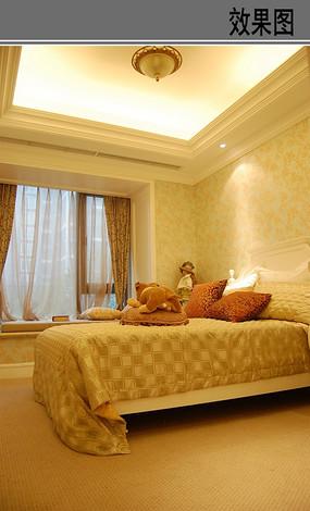 黄色美式卧室效果 JPG