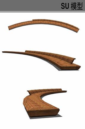 弧形木质坐凳su模型