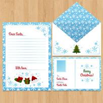蓝色清晰圣诞节信封信纸设计