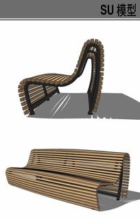 木质景观坐凳su模型