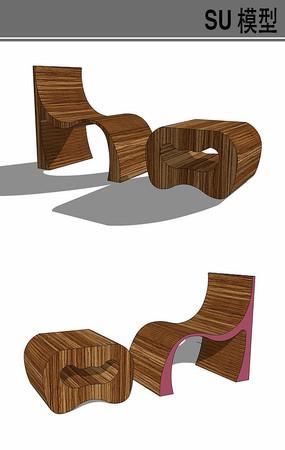 木质休闲桌椅su模型