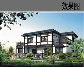 农村二层中式建筑设计效果图
