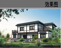 农村二层中式建筑设计效果图 JPG