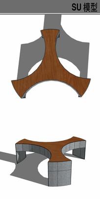 人字形坐凳su模型
