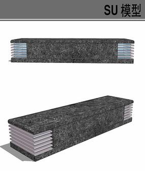 石材坐凳su模型