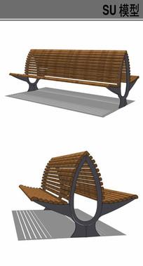 双面景观坐凳su模型