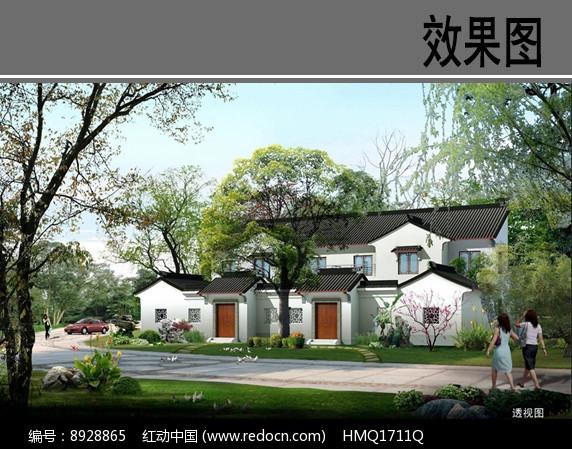苏州园林风格乡村住宅效果图图片