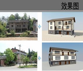 乡村旧房立面改造效果图