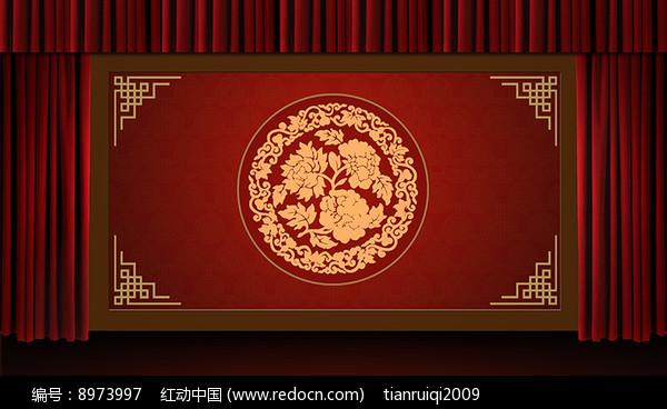 中国风相声圆红色幕布图片