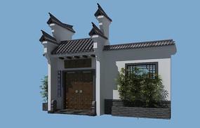 中式庭院大门3d模型