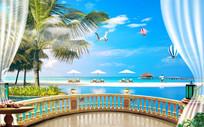 3D阳台椰树棕榈树电视背景墙
