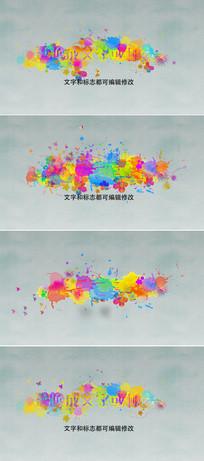 彩色水墨标志开场片头模板