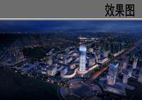 城市核心商业区夜景鸟瞰图