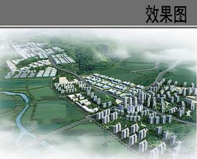 城镇规划设计中部鸟瞰图