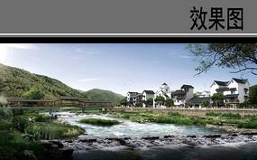村庄廊桥景观效果图