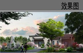 村庄新中式建筑效果图