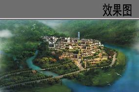 风景区村庄规划设计鸟瞰图