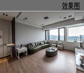 简约大空间布置客厅