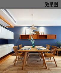 蓝色美式餐厅设计