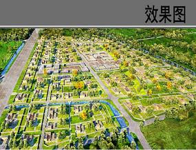 民族村庄住宅区方案鸟瞰图
